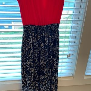 Espresso Dresses - NWT Maxi Dress Red/Black and White Lace Pattern